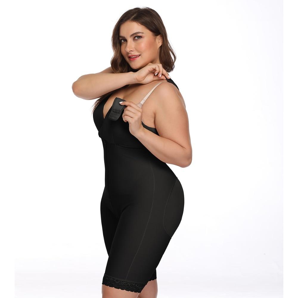 Women's Open Crotch Body Shaper Tummy Control Underwear Black Beige Plus Size 6XL Bodysuit Deep V Overbust Adjustable Shapewear (25)