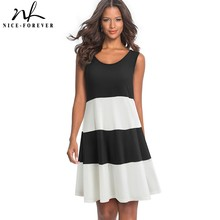 Nice forever Casual Contrast Color Patchwork Sleeveless Female vestidos Loose Shift Women Dress A166