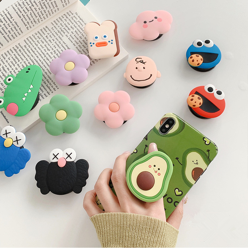 1PCS Cartoon Round Universal Mobile Phone Ring Holder Airbag Gasbag Fold Stand Bracket Mount For IPhone XR Samsung Huawei Xiaomi