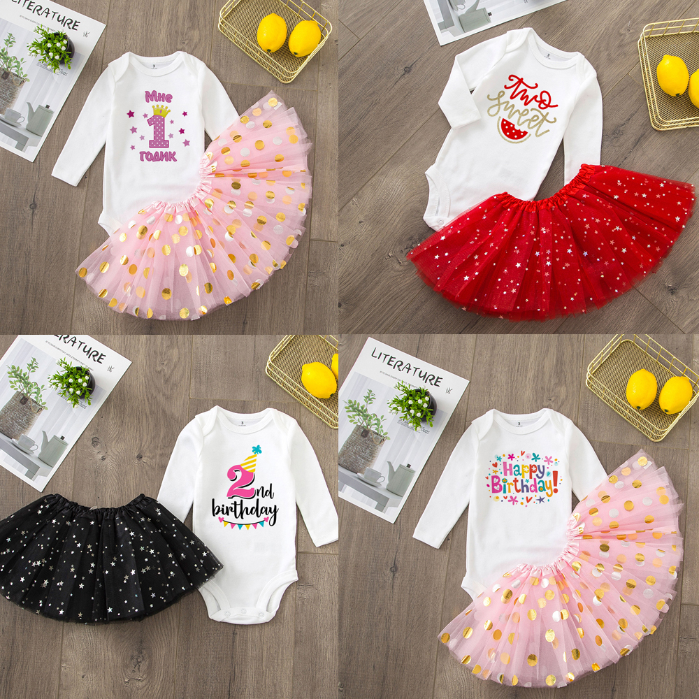Baby Girls 1st/2nd Birthday Outfit Cake Smash Outfit 2nd Birthday Shirt Tutu + Baby Bodysuits Set Birthday Clothes Drop Ship
