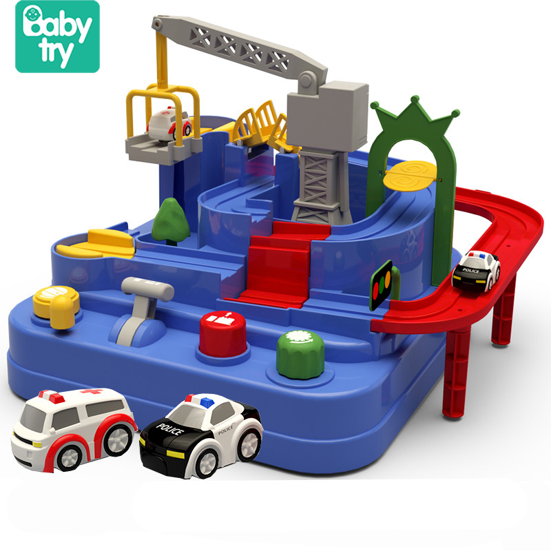 Baby Track Educational Juguetes Carro Brinquedos Vehicles 2 Cars Adventure Rail Tracks Toys For Children Boys Girls Over 3 Years