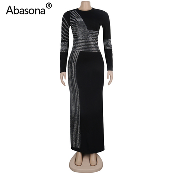 2020 Women Summer Long Bodycon Dress Hot Drilling Crystal Diamonds Rhinestone Sexy Club Party Night Bandage Maxi Dress Plus Size 4