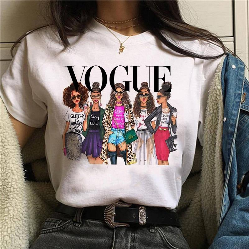 Vogue Princess Kawaii Harajuku T Shirt Women Ullzang Cute T-shirt grunge aesthetic Graphic Tshirt 90s Fashion Top Tees Female(China)
