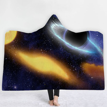 Black Hole Hooded Blanket For Home Travel 3D Printed Fleece Bed Wearable Warm Throw Adults Kids