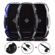 الذكية الاستشعار حامل هاتف السيارة شحن سريع لاسلكي لشحن سامسونج S7 S8 S8P S9 S9 زائد S10 نوت 8 AI الشحن اللاسلكي