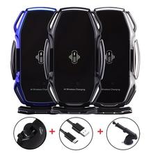 Soporte de teléfono con Sensor inteligente para coche, cargador inalámbrico de carga rápida para Samsung S7 S8 S8P S9 S9 Plus S10 Note 8 AI, carga inalámbrica