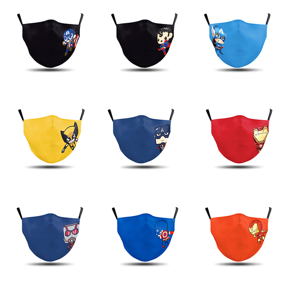 1 PCS Kid Mask 3d Print Reusable Mouth Mask Washable Filter Anti Dust Face Mask Marvel Captain America Breathable Child Mask