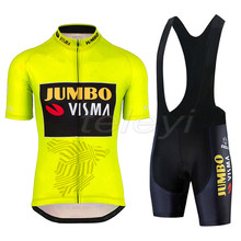 цена на 2020 Pro team Jumbo visma cycling jersey set mens bicycle maillot MTB Racing ropa Ciclismo summer quick dry bike cloth GEL pad