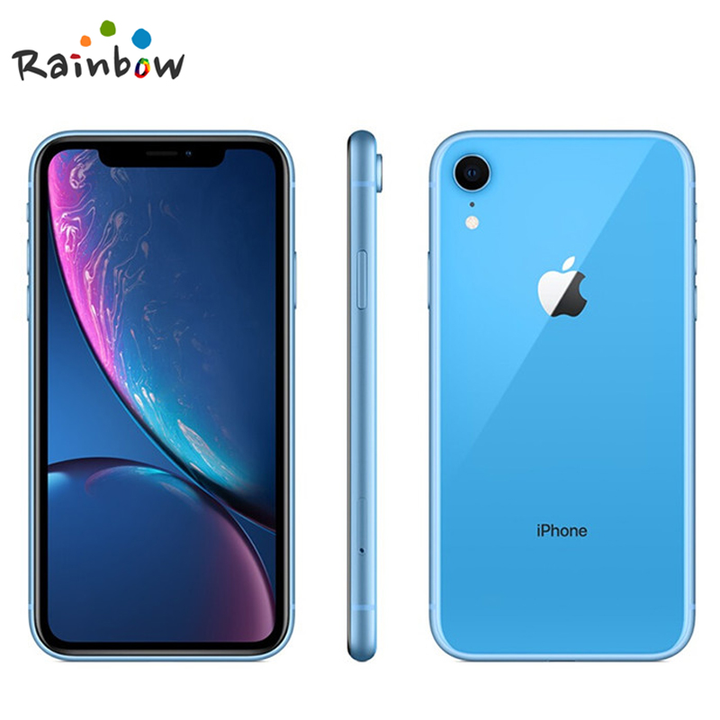 "Apple iphone xr original desbloqueado, tela com retina líquida de 6.1 ""totalmente lcd 64gb/128gb/256 smartphone apple 4g lte, rom de 5"