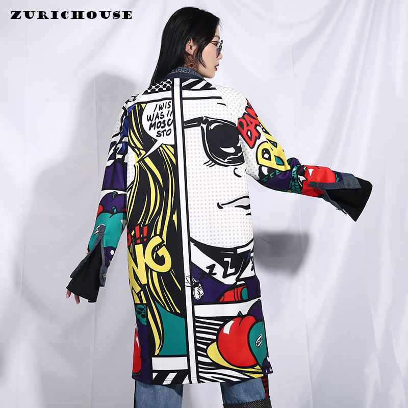 ZURICHOUSE Long Spring Coat Women Fashion 2020 Streetwear Cartoon Print Patchwork Denim Windbreaker Women's Trench