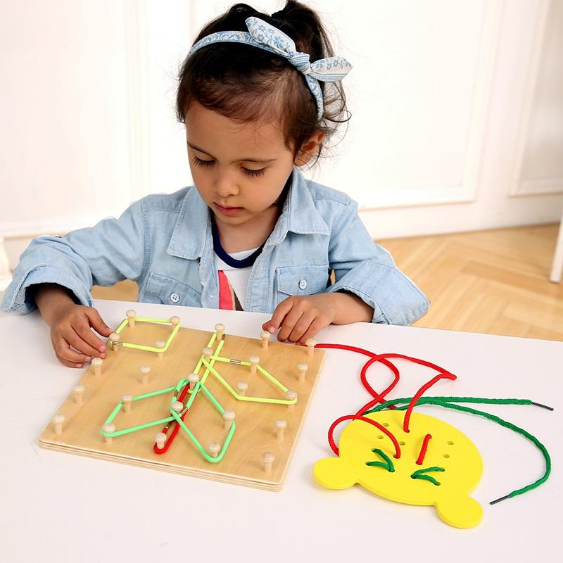 Hot Wooden Toys Wind The Rope On Wooden Nail Math Educational Toy Wood Nail Board Bear Board Threading Plate