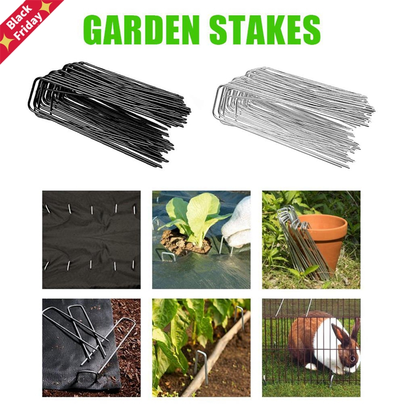 50PCS Multiple Purposes U-shaped Nail Turf Nail Galvanized Landscape Pins Garden Stakes Heavy-Duty Pins Anti-Rust Fence Stakes
