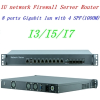 intel core i7 4770 8 LAN with 4 SFP Ports Industry Rack Mounted 1U network Firewall Router support ROS Mikrotik PFSense