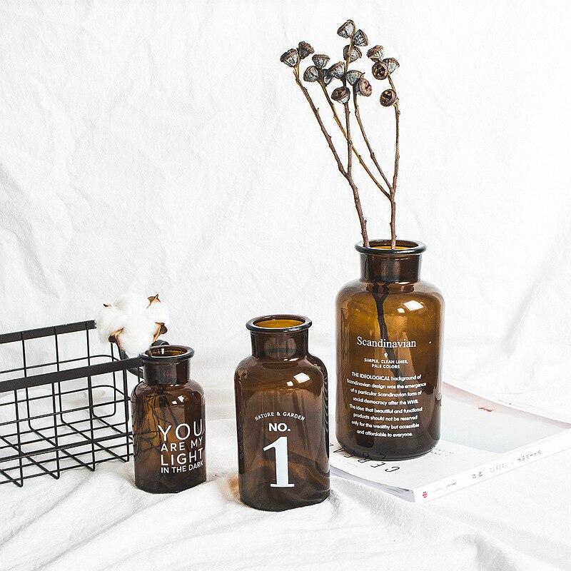Ou originalité lettre Concise Transparent brun verre insérer Vase Rural décoration de la maison accessoires ameublement Vases à fleurs