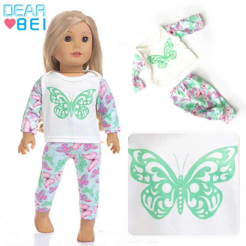 Новый костюм с бабочкой, одежда для девочек в американском стиле, 18 дюймовых кукол Одежда и аксессуары, платья (обувь в комплект не входит)