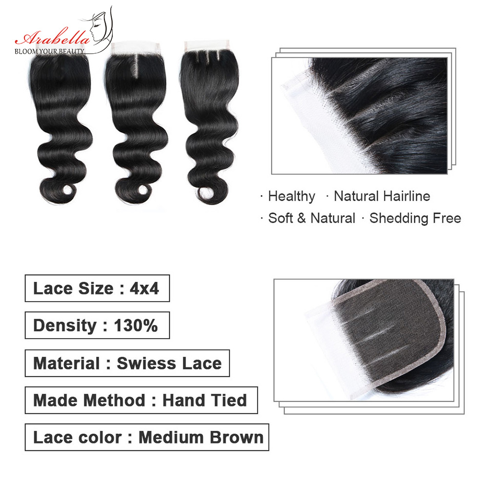 Body Wave Closure  Lace Closure With Baby Hair 4x4 Lace Closure  Arabella Transparent Lace Closure 6