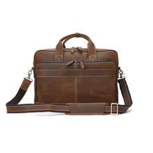 NEWEEKEND Retro Casual Genuine Leather Crazy Horse 15 Inch Cowhide Crossbody Handbag Briefcases laptop Ipad Bag