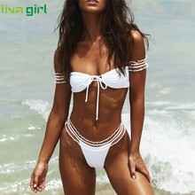 Liva girl Sexy pink swimwear women bathing suit Bandeau bikinis 2019 mujer Micro swimsuit female Push up two-piece suit summer(China)