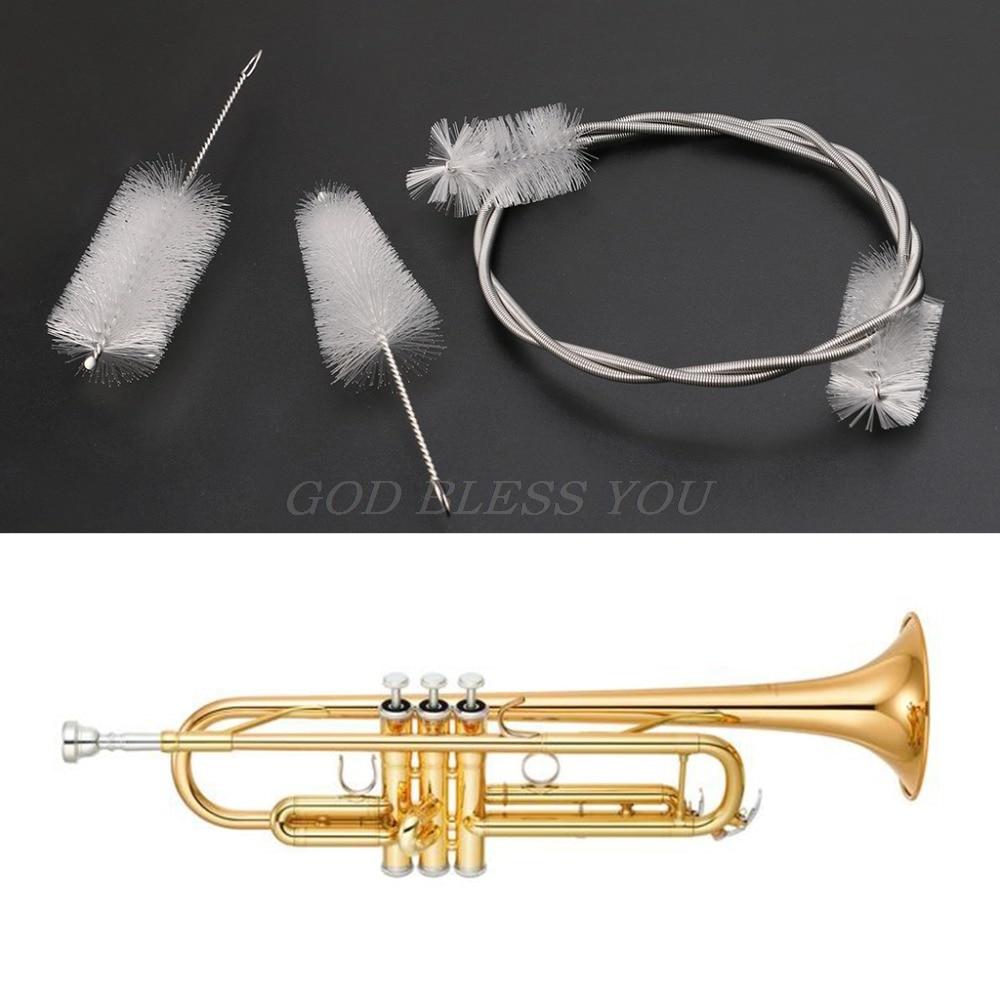 3pcs Set Trompete Reinigung Maintenance Kit Horn Posaune Tuba Ventil Mundst/ück Flexible B/ürsten Kit