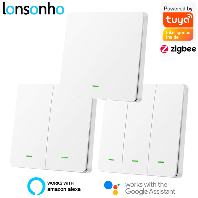 Lonsonho Tuya Zigbee Smart Switch With / No Neutral EU UK 220V Wireless Button Light Switches Support Zigbee2mqtt Home Assistant
