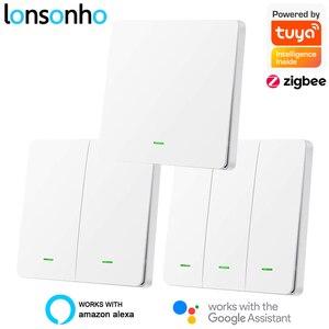 Image 1 - Lonsonho interrupteur intelligent Tuya Zigbee, avec/sans neutre, commutateur de luminaire avec bouton de ue/UK, prise en charge Zigbee2mqtt, Assistant domestique