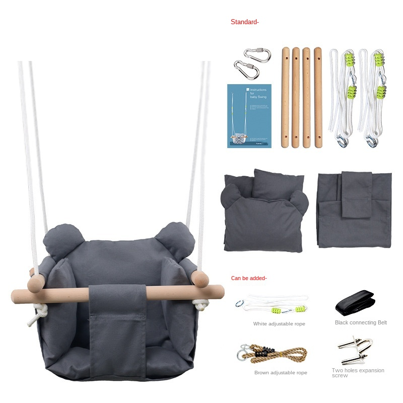 Infant Hanging Chair Children Baby Indoor Household Seat Folding Canvas Swing Safe And Comfortable Solid Color Kids Swing LB366