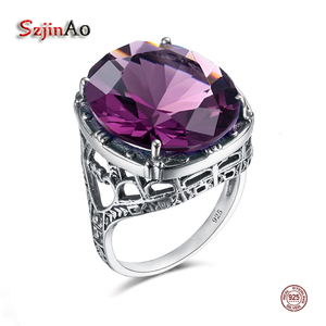 Image 1 - Szjinao Real 925 Silver Women Amethyst Gemstone Ring Wedding Rings Handmade Processing Victorian Antique Jewelry Star Of David