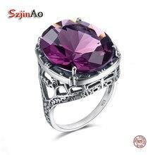 Szjinao real 925 prata feminino ametista anel de pedra preciosa anéis de casamento processamento artesanal vitoriano antigo jóias estrela de david