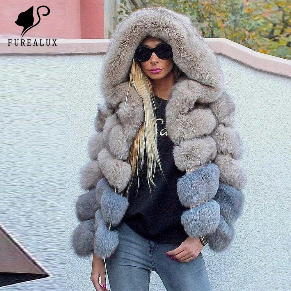 Fashion Stripes Genuine Blue Fox Fur Coat Short Luxury Warm Thicken Winter Overcoat Real Natural Outwear Full Pet Custom