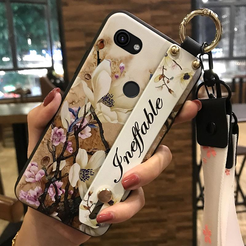 Shockproof Phone Holder Wrist Strap Phone Case For Google Pixel 3A XL Flower Series Fashionable New Arrival Waterproof Silicone