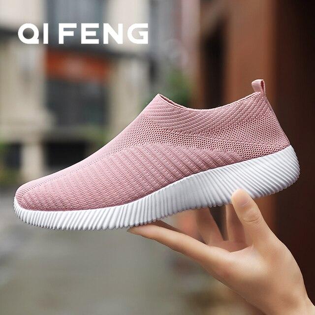 Sıcak satış koşu ayakkabıları kadın bahar bayanlar ayakkabı örgü spor ayakkabılar hafif spor ayakkabı yaz yeni kapalı daireler ayakkabı büyük boy