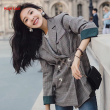 Womens spring and autumn new style show wisdom star with web celebrity check suit jacket Korean version of small trend