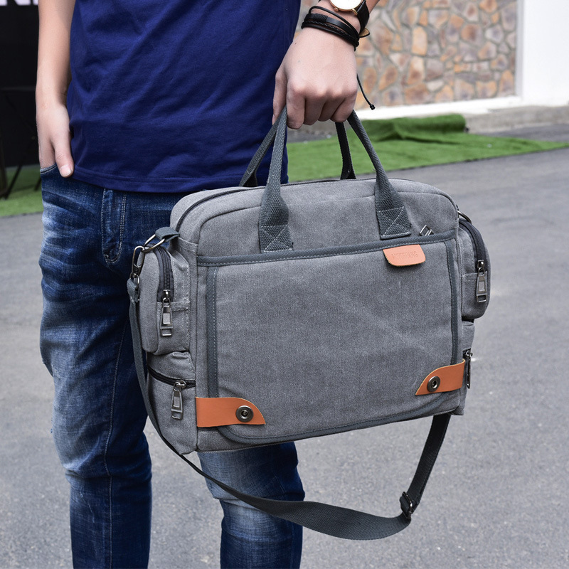 New Men's Briefcase Canvas Bag Multi-function Bussiness Bag  Shoulder Bag Briefcase 2019 Office Bags For Men Maletin Mujer