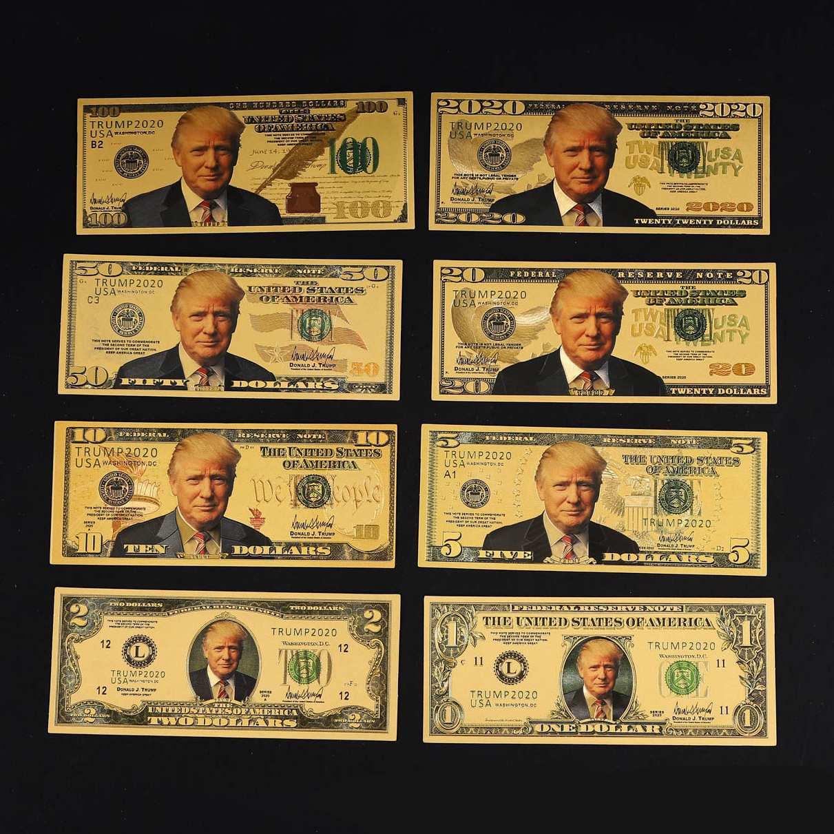 Дональда Трампа USD 1/2/5/10/20/50/100 золото, цена в долларах, полный набор банкнот 2020