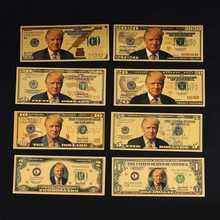 Donald trump usd 1/2/5/10/20/50/100 dólar de ouro bill conjunto completo de notas 2020