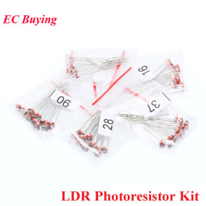 50pc LDR Photoresistor 5506 5516 5528 5537 5539 Light Dependent Weerstand Fotogeleidende Weerstand Kit Voor Arduino 5values * 10pc