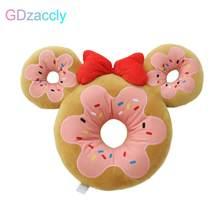 Oreiller en peluche avec dessin animé fraise Donut, avec nœud de souris, grandes oreilles, biscuits, nourriture pour bureau, café, chaise, cadeau pour fille