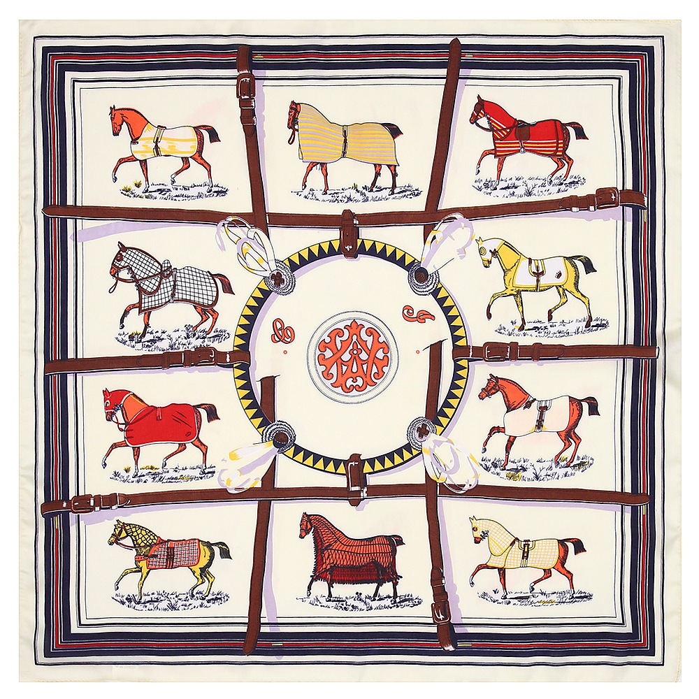 53cm Winter H Luxury Brand Carriage Chain Print Silk Scarf For Women Twill Horse Large Square Scarves Female Shawls