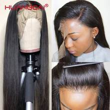 Perruque Lace Wig, cheveux Remy naturels brésiliens, 13*1, cheveux humains lisses, partie centrale profonde, densité de 150%, pour femmes