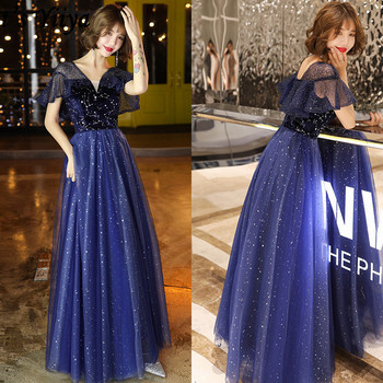 It's Yiiya Formal Dress V-Neck Short Sleeve  A-Line Floor-Length Evening Dress 2020 Sequined Plus Size Robe De Soiree LF157