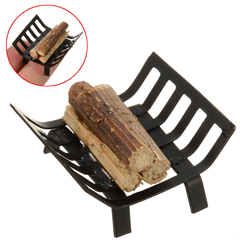 1pcs Miniature Metal Firewood Rack For 1:12 Dollhouse Furniture Garden Lawn Fireplace For Dollhouse Decoration