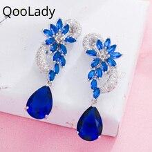 Qoolady Luxury Dark Blue Leaf Water Drop Ear Clips Non Pierced Earrings CZ Stone Female Wedding Party Accessories Jewelry E021