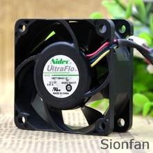 Para nidec original H60T12BHA7-57 6cm 6025 12v 0.57a alto volume de ar ventilador refrigeração teste trabalho