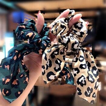 Girl Elegant Print Leopard Elastic Hair Bands Rope Sweet Ornament Scrunchie Rubber Fashion Accessories