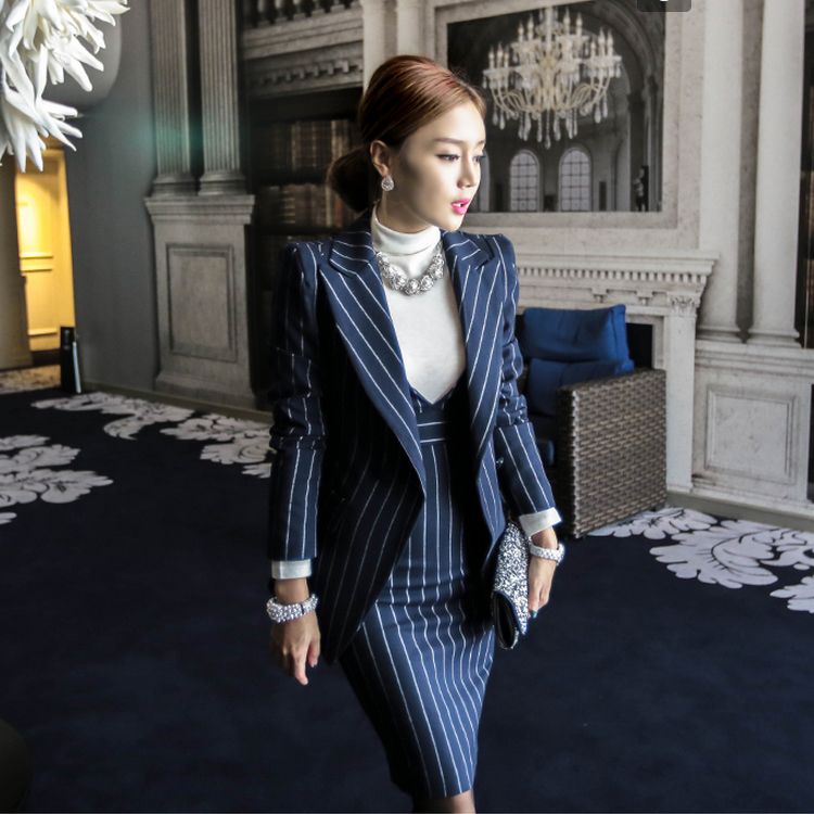 Women's Suits Office  Autumn Winter Striped Fashion Business 2 Piece Suit Skirt Top Women's Suit With A Skirt Blazer Set Ladies