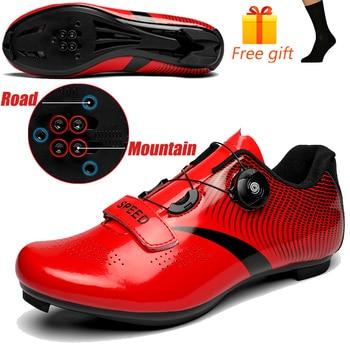 Carbon Fiber Men Cycling Shoe Breathable Triathlon Mountain Bike Shoes Man Sport Road Racing Snaeker Spin Buckle 19