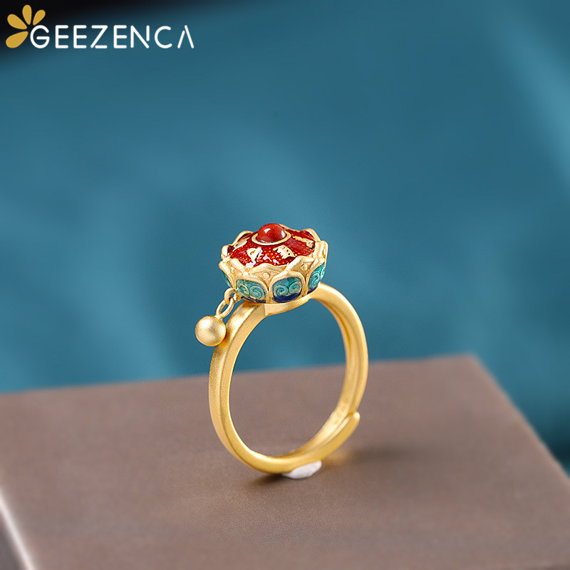 925 Sterling Silver Gold Plated Cloisonne Agate Lotus Throne Rings Open Vintage Chinese Style Gemstone Ring Fine Jewelry Women