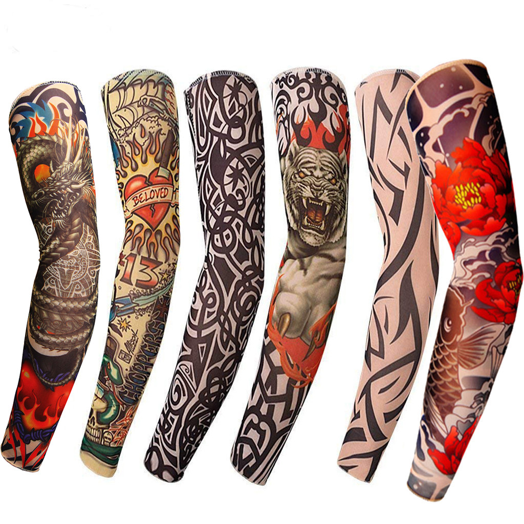 6Pcs Unisex Summer Fake Tattoo Arm Sleeves For Men Unisex Women Sunscreen Arm T Shirt UV Protection Hip Hop Punk Slip On Tattoo