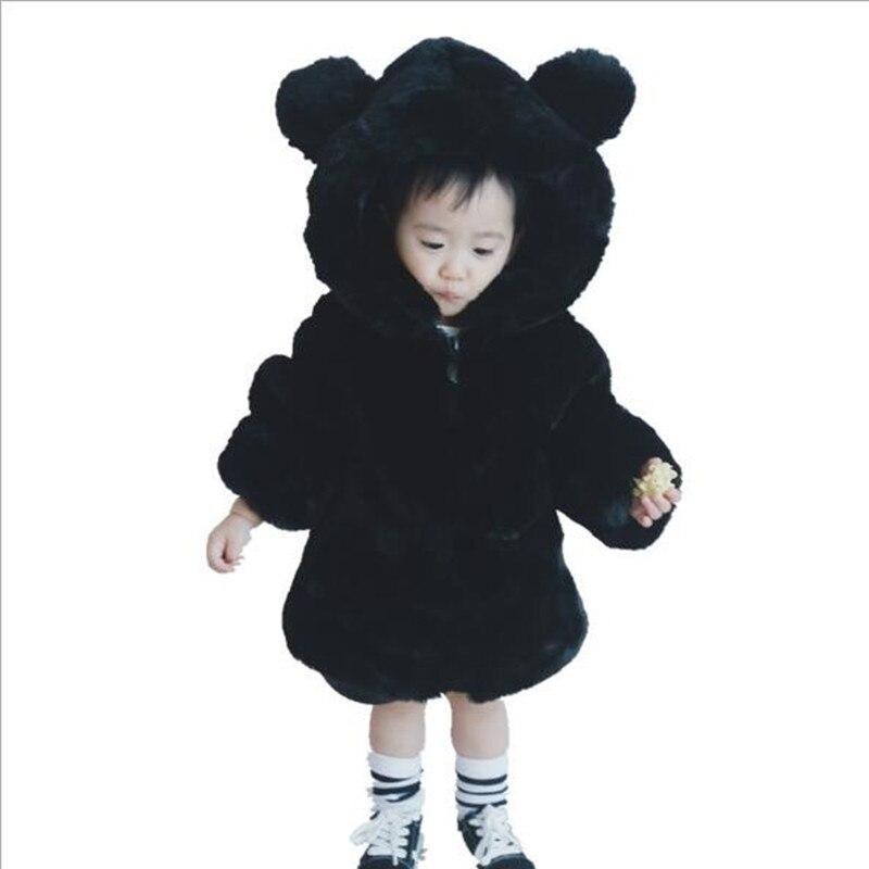 Baby Kids Girls Faux Fur Hoodie Winter Coat Long Sleeve Jacket Zip Outerwear