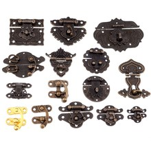 Antique Brass Wooden Case hasp Vintage Style Decorative Jewelry Gift Box Suitcase Hasp Latch Hook Furniture Buckle Clasp Lock in stock antique box buckle suitcase lock hasp antique wooden trunk metal buckle